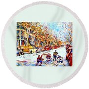 Hockey Game On Colonial Street  Near Roy Montreal City Scene Round Beach Towel