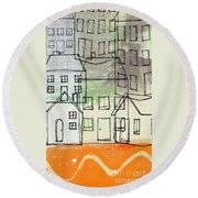 Houses By The River Round Beach Towel by Linda Woods