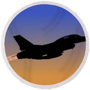 Iaf F-16b Fighter Jet At Sunset Round Beach Towel