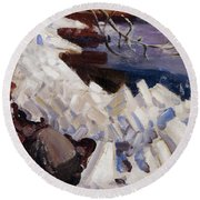 Ice Breaking On The Shores Of Kalela Round Beach Towel