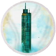 Illustration Of  Trump Tower Round Beach Towel