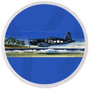 Into The Blue American War Planes Round Beach Towel