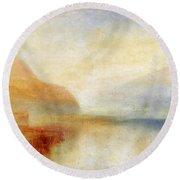 Inverary Pier - Loch Fyne - Morning Round Beach Towel by Joseph Mallord William Turner