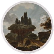 Italian Landscape With Stairs Round Beach Towel