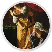 Judith And Maidservant With The Head Of Holofernes Round Beach Towel by Artemisia Gentileschi