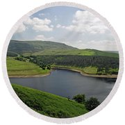 Kinder Reservoir From White Brow Round Beach Towel