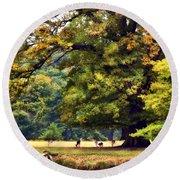 Landscape Under A Big Oak In Autumn Round Beach Towel