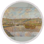Late Afternoon Vetheuil Round Beach Towel