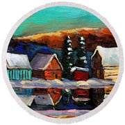 Laurentian Landscape Quebec Winter Scene Round Beach Towel
