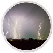 Lightning Thunderstorm View From Oaxaca Restaurant   Round Beach Towel
