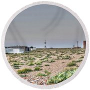 Lights On At The Lighthouse Round Beach Towel