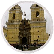 Lima Peru Church Round Beach Towel