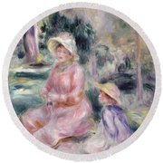 Madame Renoir And Her Son Pierre Round Beach Towel by Pierre Auguste Renoir