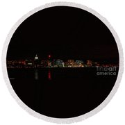 Madison Wi Skyline At Night Round Beach Towel