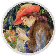 Marie Therese Durand Ruel Sewing Round Beach Towel by Pierre Auguste Renoir