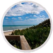 Melbourne Beach On The East Coast Of Florida Round Beach Towel