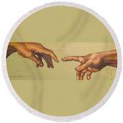 Michelangelos Creation Of Adam 1510 Round Beach Towel