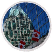 Modern Architecture - City Reflection Vancouver  Round Beach Towel