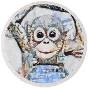 Monkey Rainbow Splattered Fragmented Blue Round Beach Towel