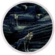 Moonlit Wolf Pack Round Beach Towel