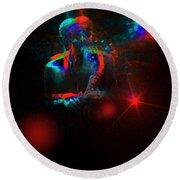 Kenny Garrett 5tet, Music Instrument Trumpet Sax Trombon  Round Beach Towel