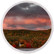 New England Fall Foliage Over The Small White Church Round Beach Towel