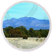 New Mexico Mountains Round Beach Towel
