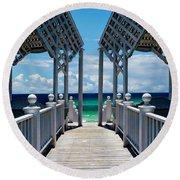 Oceanfront Pavilion Round Beach Towel