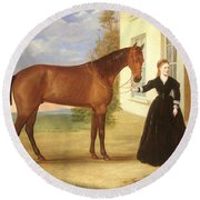 Portrait Of A Lady With Her Horse Round Beach Towel by English School