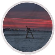 Red Sky In The Morning - Wildwood New Jersey Round Beach Towel