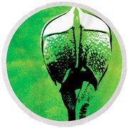 Rhino Animal Decorative Green Poster 6 - By  Diana Van Round Beach Towel