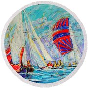 Sail Of Amsterdam II - Tree Sailboats  Round Beach Towel