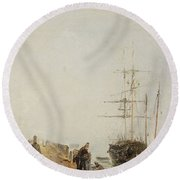 Sailing Ships By A Jetty Round Beach Towel
