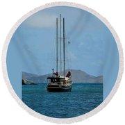 Sailing Virgin Islands Round Beach Towel