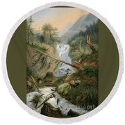 Shepherd Resting By The Waterfall Round Beach Towel