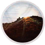 Silhouetted Mountain Round Beach Towel