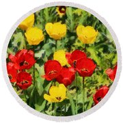 Spring Landscape With Tulips Round Beach Towel