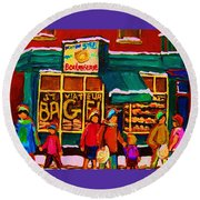 St. Viateur Bagel Family Bakery Round Beach Towel