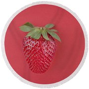 Strawberry In Red I Round Beach Towel
