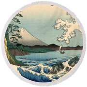 Suruga Satta No Kaijo - Sea At Satta In Suruga Province Round Beach Towel