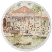 The Market Belize British Honduras Round Beach Towel