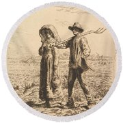 The Peasant Family Round Beach Towel