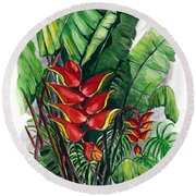 Tiger Claw .. Heliconia Round Beach Towel