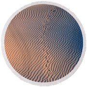 Tracks At First Light In Death Valley Round Beach Towel