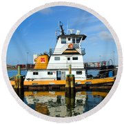 Tug Indian River Is Part Of The Scene At Port Canvaeral Florida Round Beach Towel