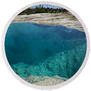 Turquoise Hot Springs Yellowstone Round Beach Towel