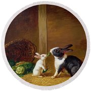 Two Rabbits Round Beach Towel by H Baert
