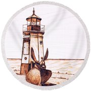 Vermilion Lighthouse Round Beach Towel