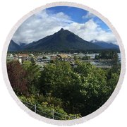View From Top Of Castle Hill Sitka Alaska 2015 Round Beach Towel