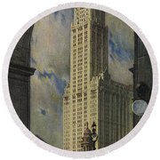 View Of The Woolworth Building Round Beach Towel